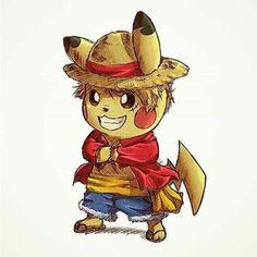 Pikachu as Monkey D. Luffy from One Piece. Pokemon Mew, Pokemon Fan Art, Kalos Pokemon, Cool Pokemon Wallpapers, Cute Pokemon Wallpaper, Cute Cartoon Wallpapers, Animes Wallpapers, Pikachu Kunst, Pikachu Art