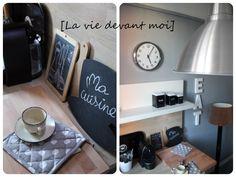 * Avant-Après: ma nouvelle cuisine en gris (1) - La vie devant moi ----j'aime les murs gris, les meubles blancs, le plan de travail en bois et les deco noires !