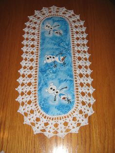 Aunt Roo's MINI Disney Olaf fabric runner w/ crocheted edging....