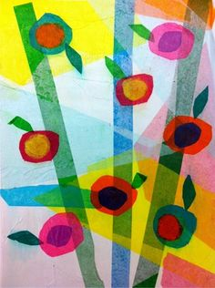 tissue paper flower collage inspired by Gale Kaseguma