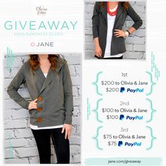 {#GIVEAWAY} Jane has teamed up with Olivia & Jane this week to give away some PayPal CASH and store credit to spend at Olivia & Jane. We're talking zipper hoodies, sequin sleeve tunics, extra long v-necks, their super popular extra long tanks, and more!  1st) $200 PayPal Cash + $200 Gift Card 2nd) $100 PayPal Cash + $100 Gift Card 3rd) $75 PayPal Cash + $75 Gift Card  Ends Sunday. **Enter by clicking through!**