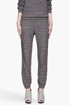 T By Alexander Wang Charcoal Grey Flecked French Terry Sweatpants