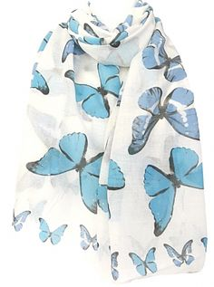 Large cream ivory coloured scarf with a blue Butterfly print Soft light weight fabric Measurements approx 68 inch 170 cm in length approx 38 inch 95 Butterfly Scarf, Butterfly Print, Blue Butterfly, Prom Accessories, Cat Scarf, Scarf Design, Soft Light, Scarfs, Clutch Bag