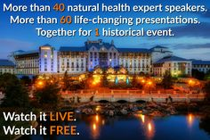 This is going to be a great event Oct 14-16, 2016. Click this link to get your free access live stream pass http://go.thetruthaboutcancer.rocks/uls/?gl=582843138&a_aid=1621464&a_bid=60c3cabd