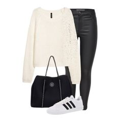 White sweater+black leather leggins+white sneakers+black tote bag. Winter to Spring/ Transitional Casual Outfit 2018