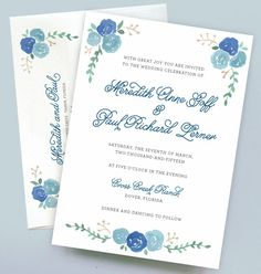 Watercolor Flower Wedding Invitation with Blue Roses by Leveret Paperie