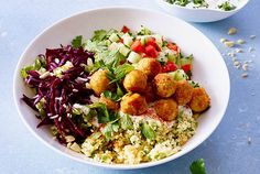ohne Weizen kochen Oriental falafel bowl recipe Toronto Heating And Air Conditioning Ask anyone from Lacto Vegetarian Diet, Vegetarian Recipes Easy, Paleo Recipes, Healthy Dinner Recipes, Crockpot Recipes, Healthy Snacks, Nom Nom Paleo, Snacks Sains, Falafels