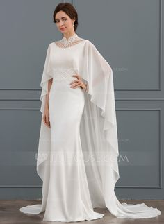 Trumpet/Mermaid High Neck Court Train Stretch Crepe Wedding Dress With Beading S. - Trumpet/Mermaid High Neck Court Train Stretch Crepe Wedding Dress With Beading Sequins - Wedding Dress Trumpet, Wedding Dress Black, Crepe Wedding Dress, Hijab Wedding Dresses, Sequin Wedding, Bridal Dresses, Crepe Dress, Mermaid Wedding, Trumpet Dress