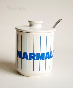 Vintage Retro 1980s Hornsea Blue Stripes Marmalade Pot and Lid by UpStagedVintage on Etsy