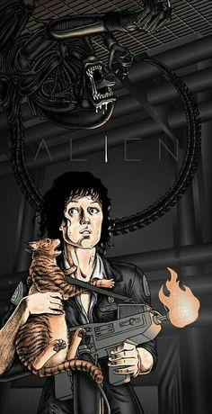 An alternative movie poster for the film Alien, created by Erin Gallagher, featured on AMP. Saga Alien, Alien Film, Alien 1979, Alien Art, Alien Vs Predator, Predator Movie, Xenomorph, Horror Icons, Horror Art