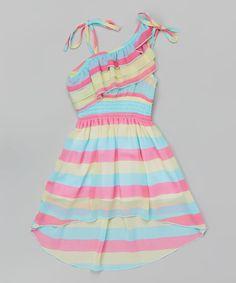 This Unik Mint Stripe Asymmetrical Dress - Toddler & Girls by Unik is perfect! #zulilyfinds
