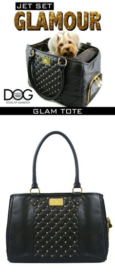 Dogs of Glamour fuses fashionable form and function into this faux leather Glam Tote adding pretty and practical style to both you and your jet setting dog.