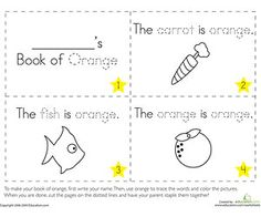 create eight mini coloring books featuring words and objects associated with basic colors
