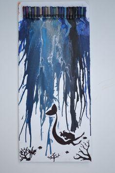 Mermaid in a Melting Ocean Handmade Crayon Painting by crcherry7