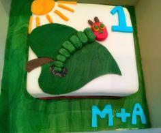 The Very Hungry Caterpillar Themed 1st Birthday Cake