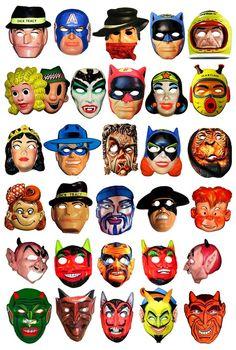 vintage retro halloween masks dick tracy captain america wonder woman batman
