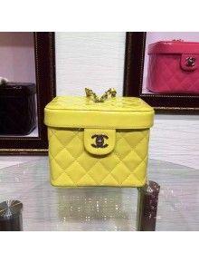 Chanel Yellow Patent Calfskin Cosmetic Make up Bag