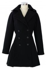 Flare Hem Double Breast Wool Coat - Retro, Indie and Unique Fashion