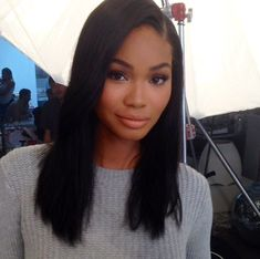 Chanel Iman, simple hairstyle but very elegant