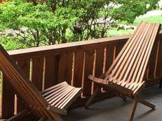 Details About Vintage Pair Mid Century Danish Modern Teak? Wood Slat Clam  Folding Chairs