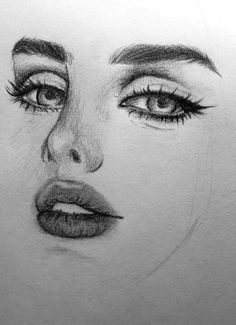 close up of a female face drawing, how to draw a face, full lips and big eyes Girl Drawing Sketches, Cool Art Drawings, Pencil Art Drawings, Realistic Drawings, Realistic Eye, Girl Sketch, Eye Sketch, Eye Drawings, Portrait Sketches