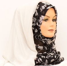 Floral Ombre Hijab - Black & White    Available at www.hijabbella.com