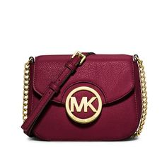 4d4ac3d4c76c MICHAEL Michael Kors Fulton Leather Small Crossbody Bag Burgundy. bagsonline