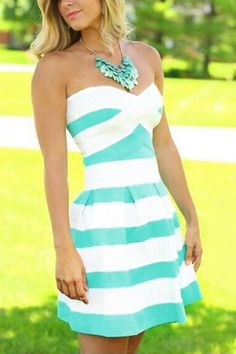 Mint and White Striped Dress