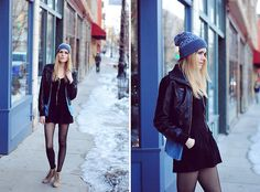 Papaya Clothing Romper, Zara Wedges, H&M Chambray Top, Michael Kors Beanie