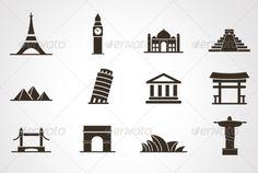Destination Icons Set Opera House, australia, big ben, brazil, building, camp, country, culture, destination, egypt, europe, famous, france, icon, india, italy, landmark, leaning tower, pizza, pyramid, sign, statue, summer, symbol, taj mahal, tourism, travel, vacation, vector, world, Destination Icons Set