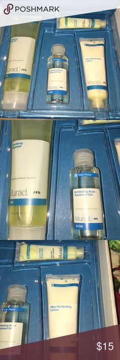Murad Acne Treatment Set A complete Murad Acne Treatment Set which contains the following in order: 1) Clarifying Cleanser 4.5fl.oz to cleanse and tone. 2) Exfoliating Acne Treatment Gel  2fl.oz to treat and repair. 3) Acne Spot Treatment 0.5fl.oz also for treat and repair. 4) Skin Perfecting Lotion 1.7fl.oz for hydrate and protect.  Never used it coz I ended up trying Proactiv Instead.  I've had this set for a couple of years & does not show any expiration date. Please feel free to ask any…