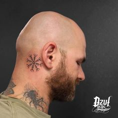 The Helm of Awe for our friend @andy_the_bald #tattoo #necktattoos #dzul #dzulinklounge #dzultattoo #seattle #pnw #belltown #seattletattoos #inked #helmofawe (at DZUL)
