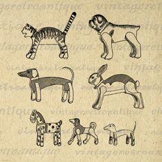 Printable Antique Animal Toys Graphic Image Dog Cat Rabbit Animals Digital Download Artwork Vintage Clip Art Jpg Png 18x18 HQ 300dpi No.1734 @ vintageretroantique.etsy.com #DigitalArt #Printable #Art #VintageRetroAntique #Digital #Clipart #Download