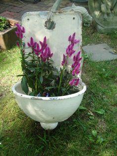 Antique french courtyard wall sink garden sink  by funknjunkinc, $250.00