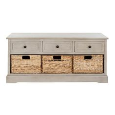 Pine wood storage bench with 3 drawers and 3 removable woven baskets.    Product: Storage benchConstruction Material: