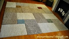 DIY:  Area Rug Tutorial - made from carpet samples.  Very good info on types of carpet to use, how to lay out your rug & adhesive to use.  Made for under $30, she was able to customize her rug by choosing her colors & the layout.