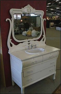bathroom vanity from old dresser | images of antique bathroom vanity shabby chic white dresser with sink ... #shabbychicbathroomssmall #shabbychicbathroomsvanity #shabbychicbathroomsideas #whitebathrooms