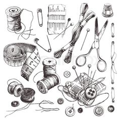Sewing set: collection of highly detailed hand drawn sewing and ...