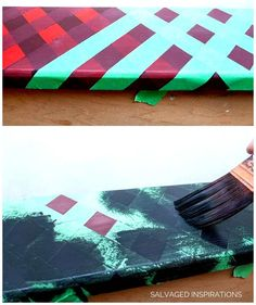 How To Paint Buffalo Plaid in 5 Easy Steps! - Salvaged Inspirations Rainy Day Crafts, Fun Crafts For Kids, Crafts To Do, Wood Crafts, Diy Letters, Painted Letters, Diy Painting, Painting Furniture, Painting Tutorials