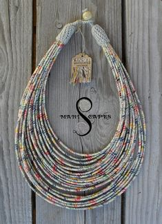 Slavic Girl yarn-wrapped necklace / tribal / hippie / bohemian / colorful/ white / thread / linen