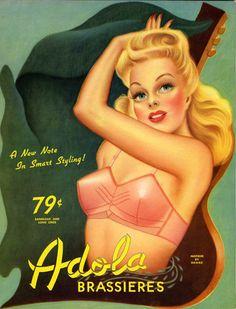 Adola Brassiere ads art by Cardwell Higgins Lingerie Vintage, Vintage Bra, Vintage Ephemera, Retro Vintage, Vintage Cards, Vintage Underwear, Retro Ads, Vintage Glamour, Vintage Photos