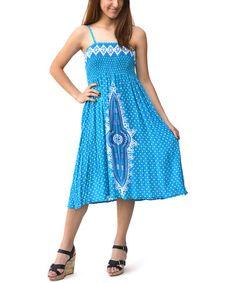 Loving this Turquoise & White Shirred Dress - Women on #zulily! #zulilyfinds