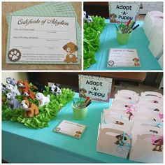 Puppy Adoption; Adopt-A-Puppy; Puppy Party Ideas https://www.etsy.com/listing/239371424/puppy-party-adoption-certificates?ref=listing-shop-header-2