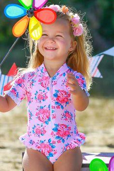 Vintage UV Swimsuit for baby girls. Baby Girls, Cute Girls, Toddler Girl, Boy Or Girl, Little Girls, Baby Girl Swimwear, Little Girl Swimsuits, Ginger Kids, Summer Girls