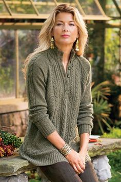 Cable Pullover A hint of cashmere enhances the soft touch of this relaxed sweater designed in cable and other knit stitches, with rib-knit at the stand collar, long raglan-sle