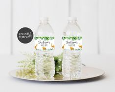 Printable Water Bottle Labels Free Templates New Safari Water Bottle Label Template Editable Water Bottle Canning Jar Labels, Potion Labels, Safari, Unicorn Water Bottle, Printable Water Bottle Labels, Baby Shower Labels, Label Templates, White Pumpkins, Office Depot