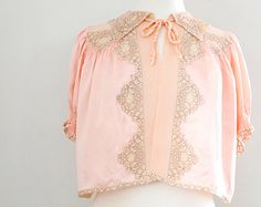 Vintage 1940's Blush Pink Silk and Lace Bed Jacket - Size Small to Medium