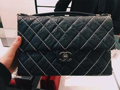 Chanel Chevron Stitched Flap Bag