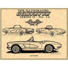 1961 C1 Corvette Car Art Print,61  C1 Print,C1 Corvette,Man Cave Decor,Teeters,Nostalgic Corvette,61 Production Corvette,Americas Sports Car