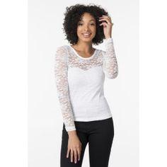 White lace long sleeve shirt Shirt Sleeves, Long Sleeve Shirts, White Lace, Chic, Sweaters, Tops, Fashion, Shabby Chic, Moda